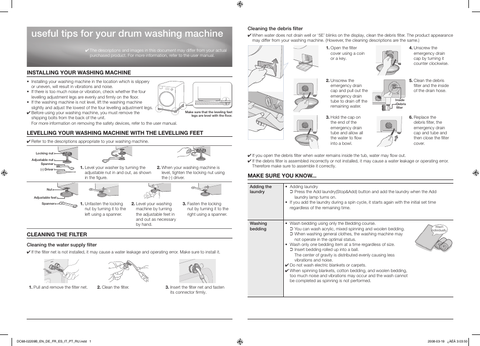 samsung diamond drum washing machine user manual