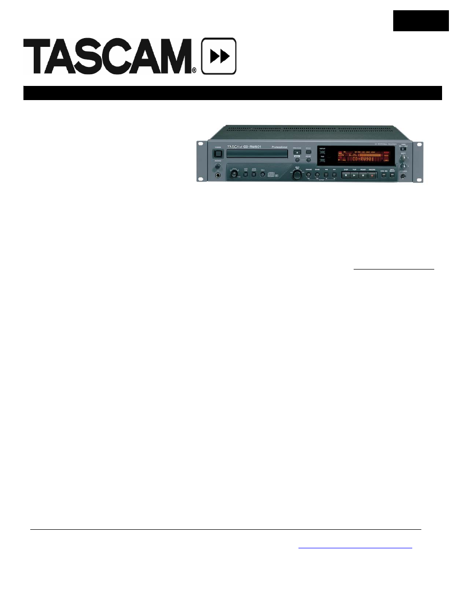 Tascam CD-RW901 User Manual   3 pages