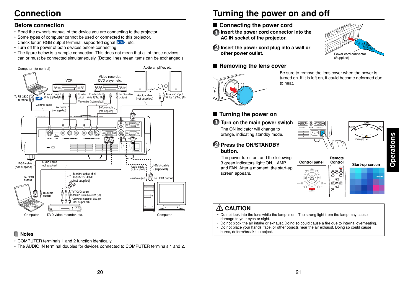 Connection Operations Turning The Power On And Off Toshiba Tdp Connector Wiring Diagram T98 User Manual Page 11 22