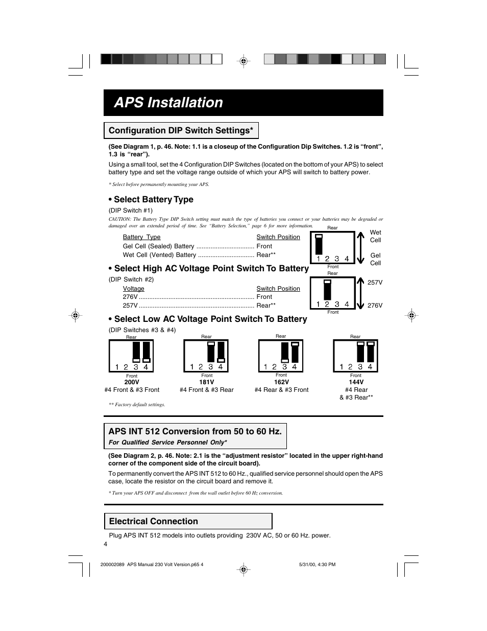 aps installation electrical connection configuration dip switch rh manualsdir com Instruction Manual Book Instruction Manual Book