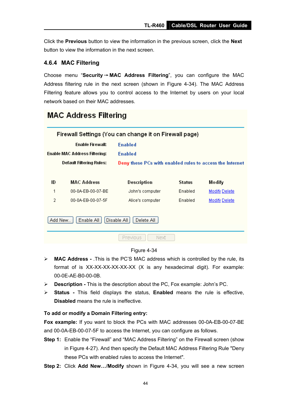 4 mac filtering, Mac filtering | TP-Link TL-R460 User Manual | Page