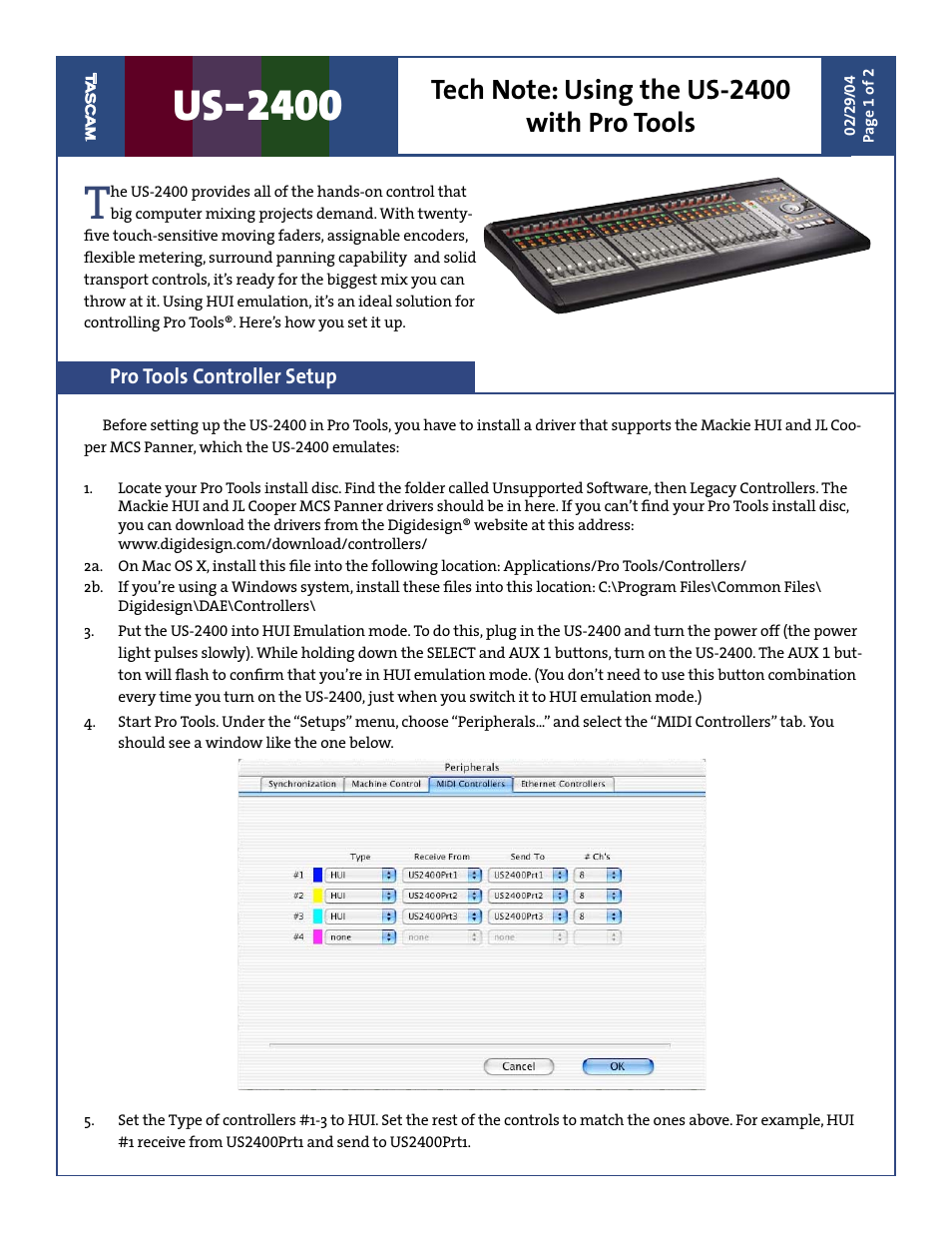 Tascam US-2400 User Manual | 2 pages