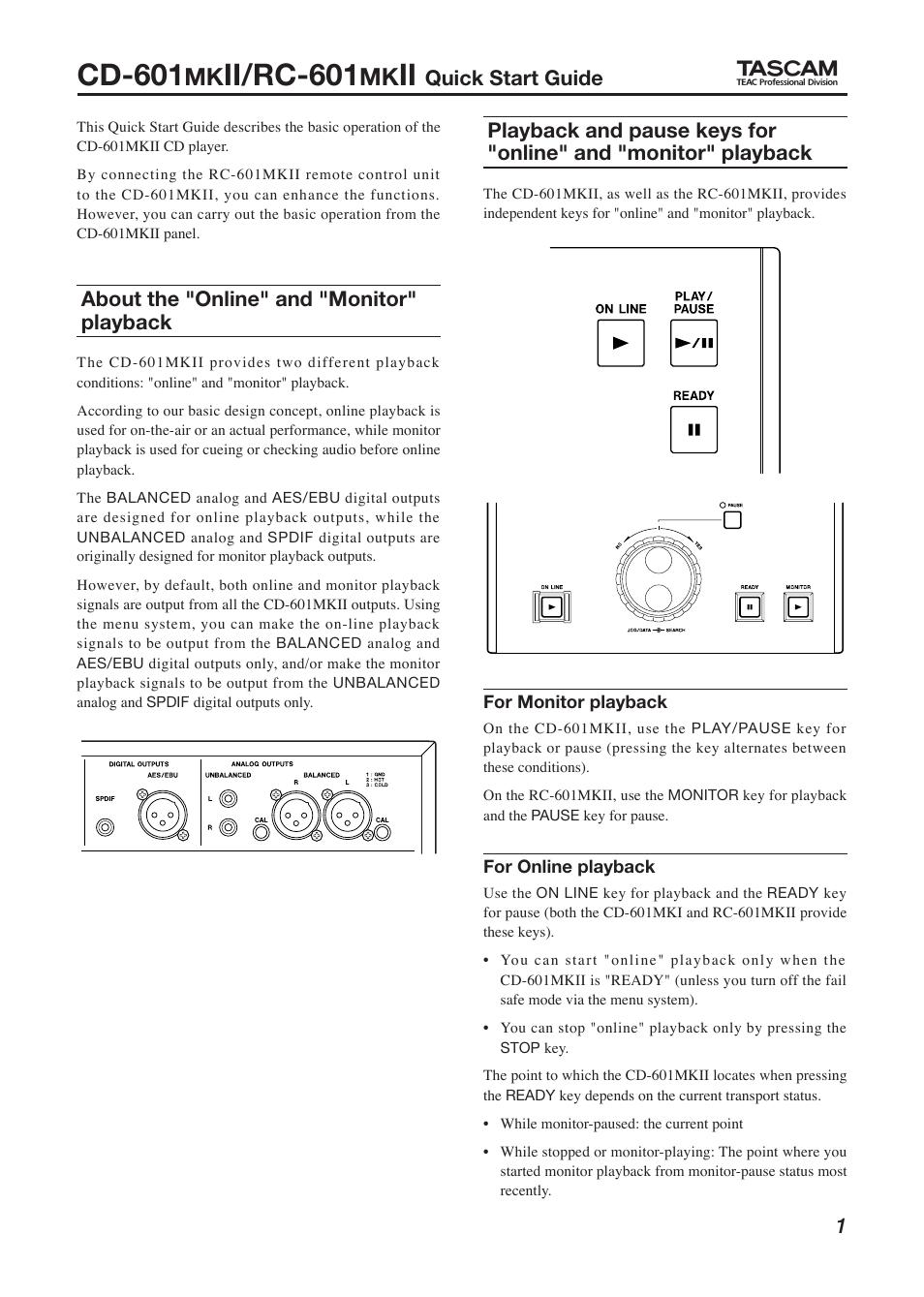 Cd-601, ii/rc-601, quick start guide | tascam cd-601mkii user.