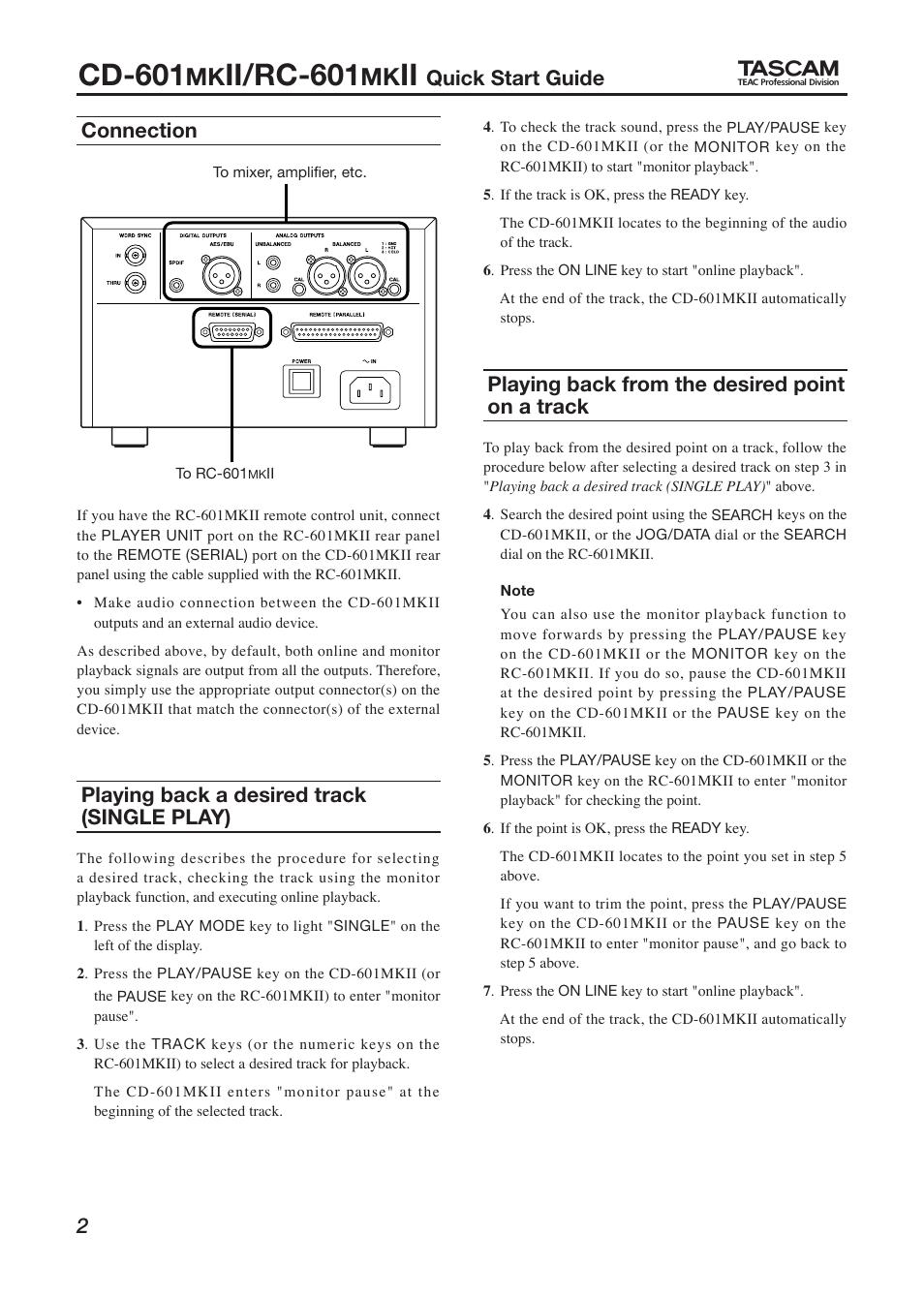 Tascam cd-601-mkii cd player on demand pdf download | spanish.