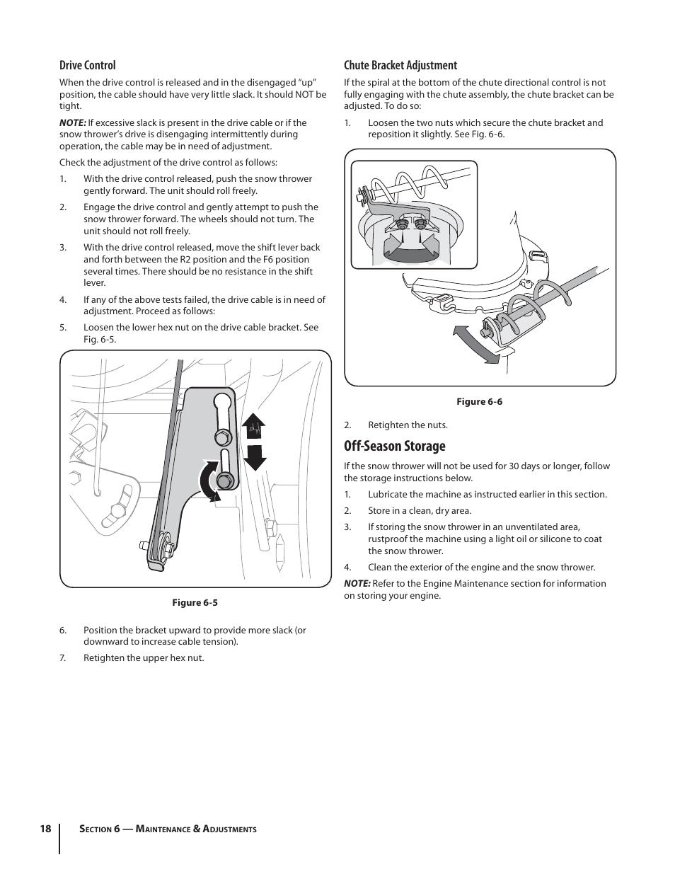 Off-season storage, Drive control, Chute bracket adjustment   Troy-Bilt  Storm 2410 User Manual   Page 18 / 60