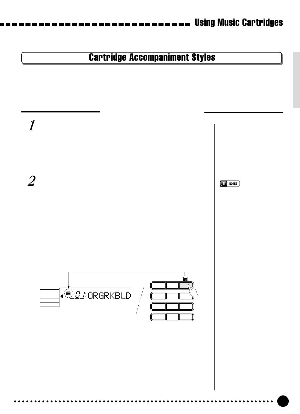 Using music cartridges, Cartridge accompaniment styles