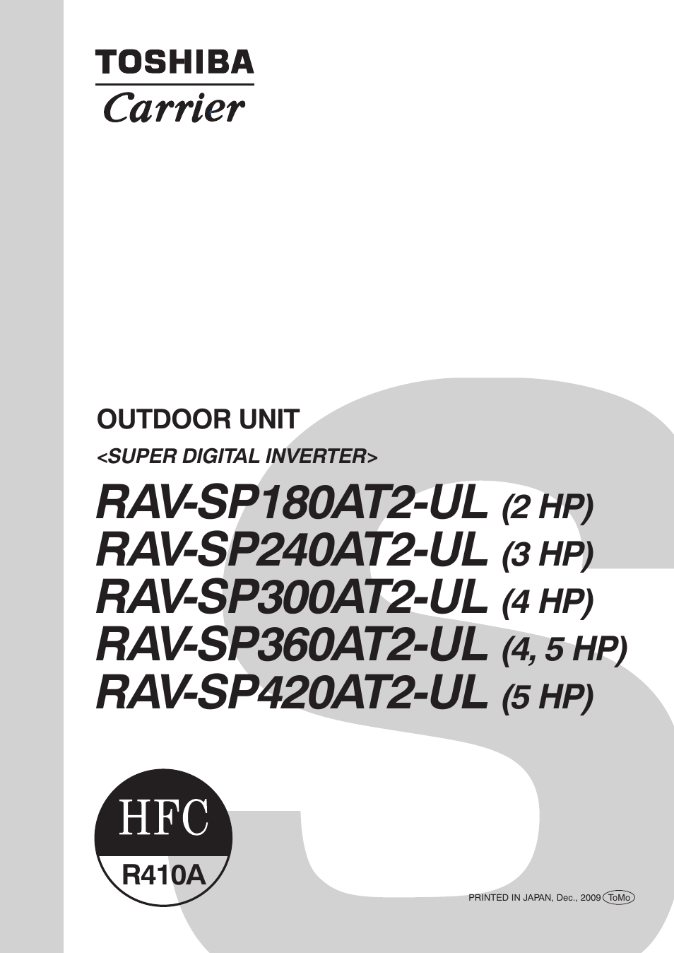 Toshiba Carrier Rav Sp300at2 Ul User Manual 116 Pages