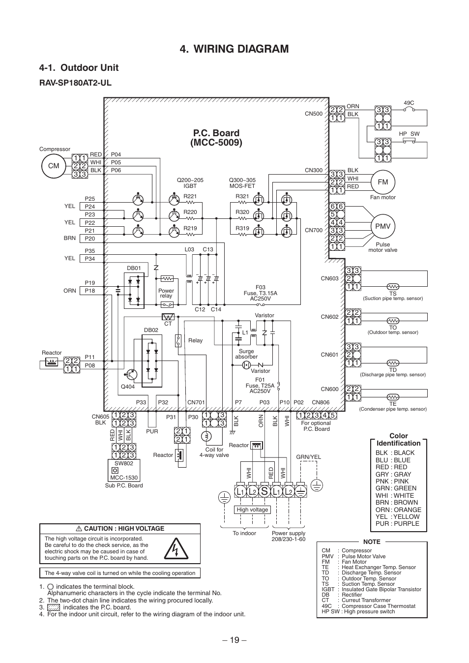 Wiring Diagram  1  Outdoor Unit  P C  Board  Mcc