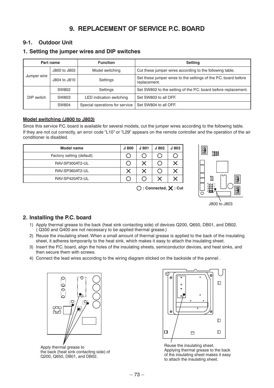 Replacement Of Service Pc Board Toshiba Carrier Rav Ul Wiring Diagram Sp300at2 User Manual Page 73 116