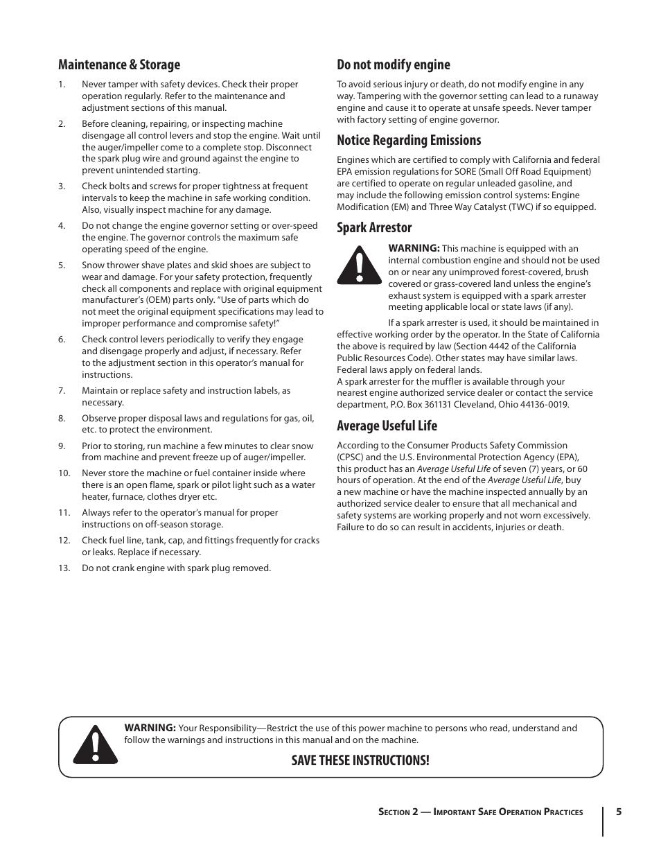 Maintenance & storage, Do not modify engine, Notice regarding emissions |  Spark arrestor,