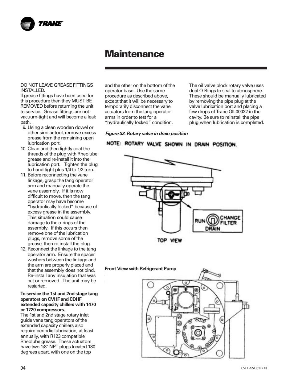 maintenance trane cvhe svu01e enx39640712050 user manual page 94 rh manualsdir com Trane Water Chillers Trane Water Chillers