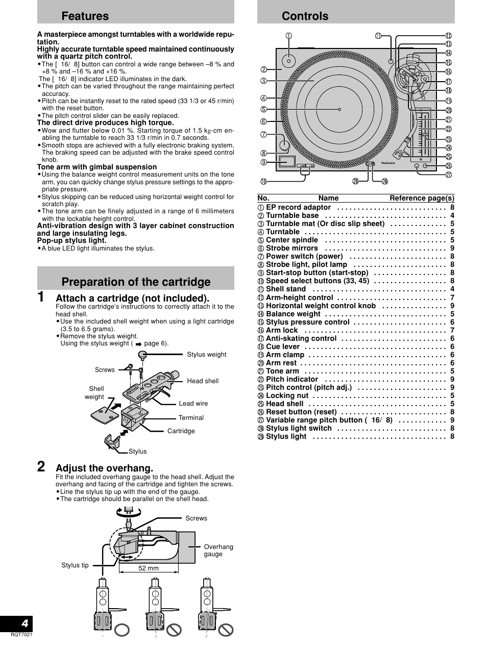 Features, Preparation of the cartridge, Controls | Technics