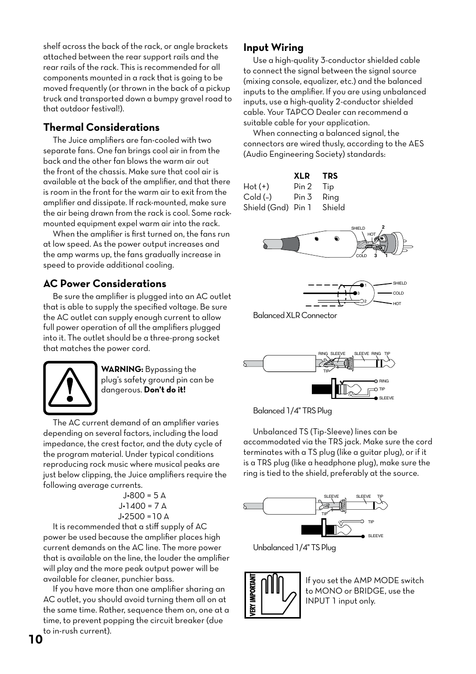 Thermal Considerations Ac Power Input Wiring Cord Tapco J 800 User Manual Page 10 20