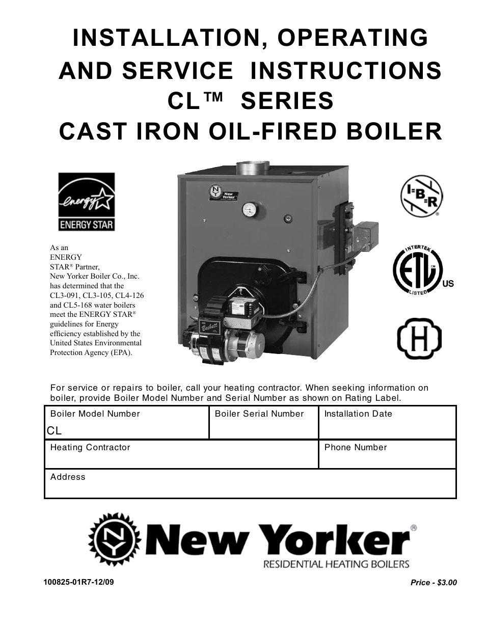The New Yorker Store Cast Iron-Oil Fired Boiler CL User Manual | 52 ...