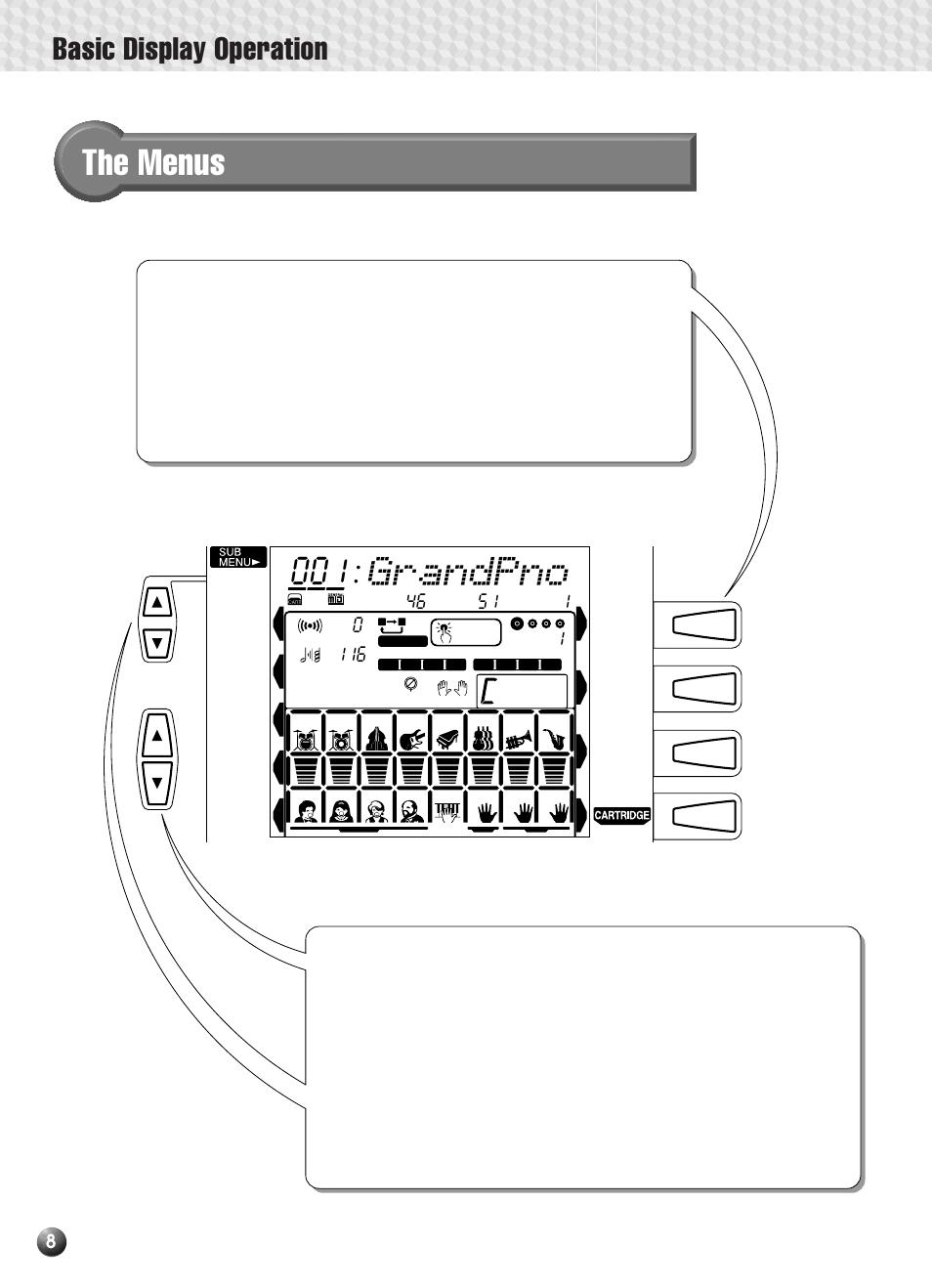 The menus, Grandpno, Basic display operation | Yamaha PSR-330 User Manual |