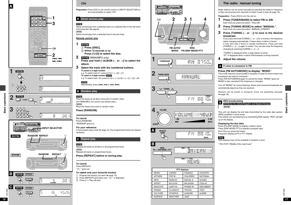 Bc a, The radio: manual tuning | Technics SC-EH790 User Manual