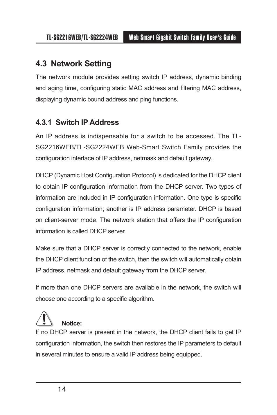 3 network setting, 1 switch ip address, 3 network setting
