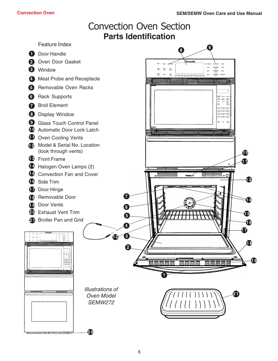 parts identification illustrations of oven model semw272 feature rh manualsdir com thermador dwhd640jfp user manual thermador mces user manual