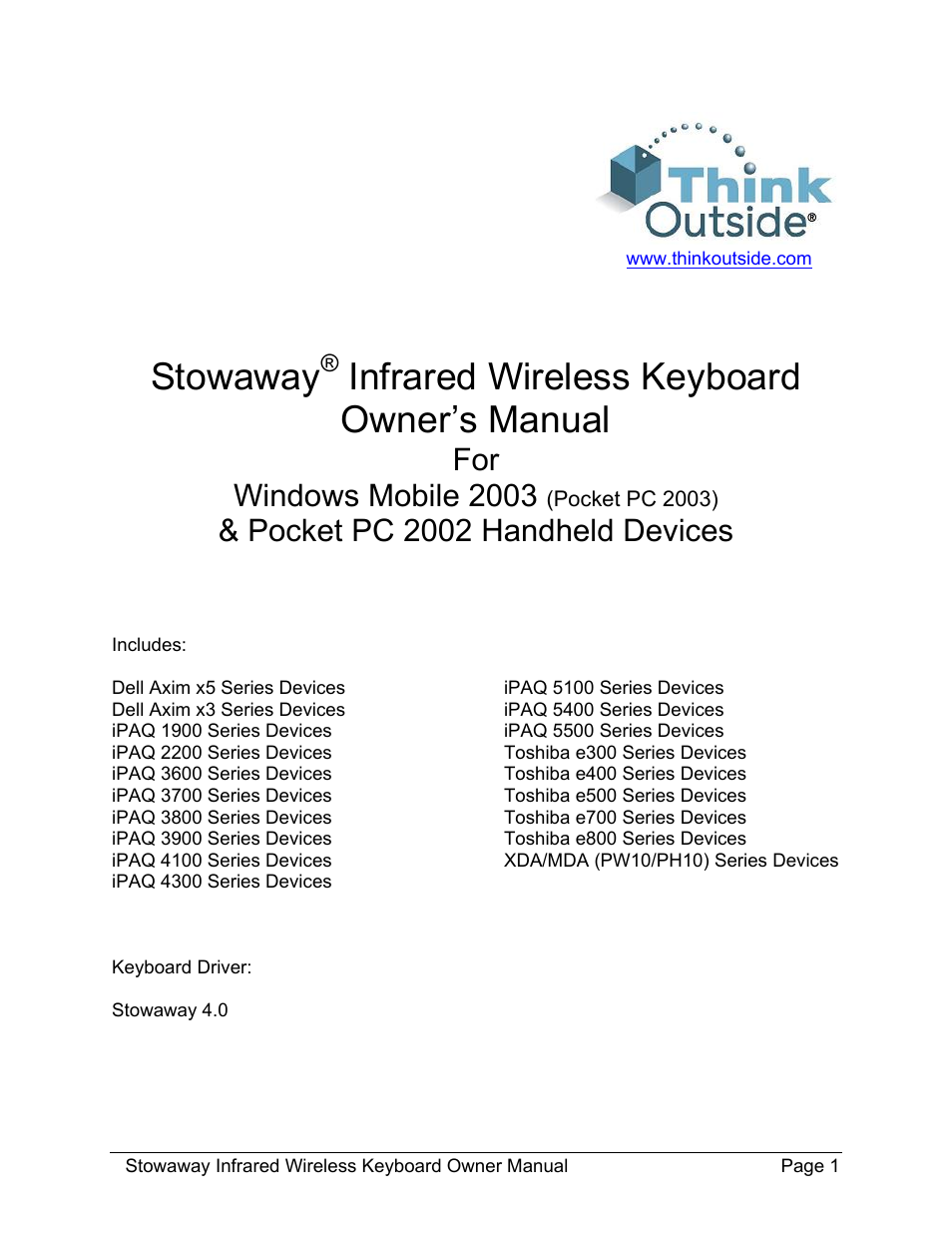 think outside stowaway 101797e user manual 18 pages rh manualsdir com Windows Mobile 2002 Windows 2004 Mobile