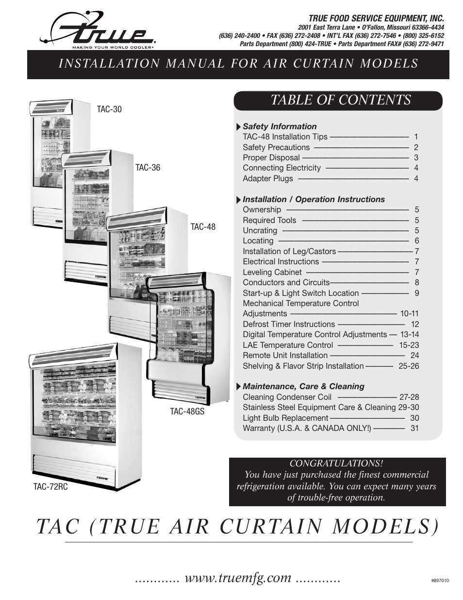 True Tac 48 Wiring Diagram Library Gdm 49f Manufacturing Company 36 User Manual 33 Pages Also For