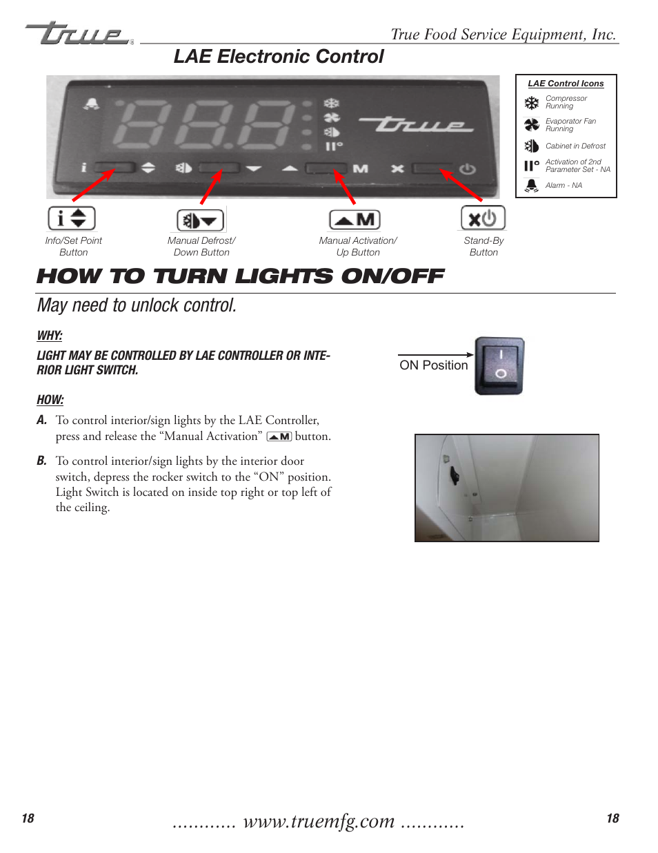 How to turn lights on/off, May need to unlock control  lae
