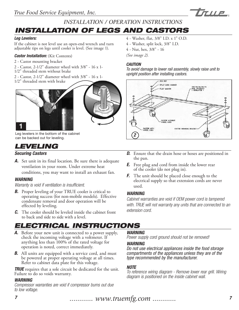Electrical instructions leveling, Installation of legs and castors ...
