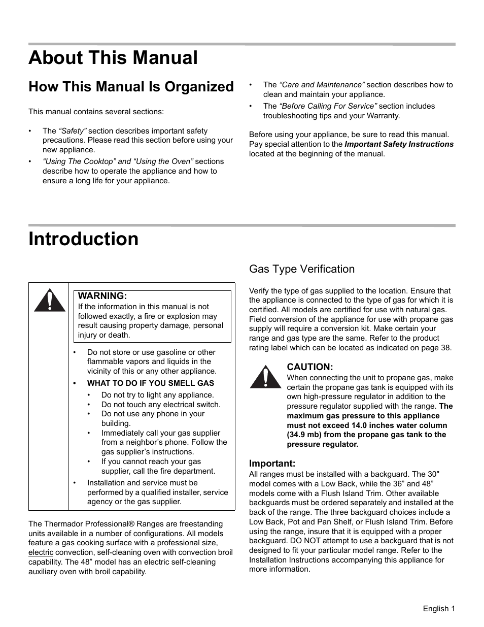 b429c9dddd5 About this manual, How this manual is organized, Introduction | Warning,  Gas type