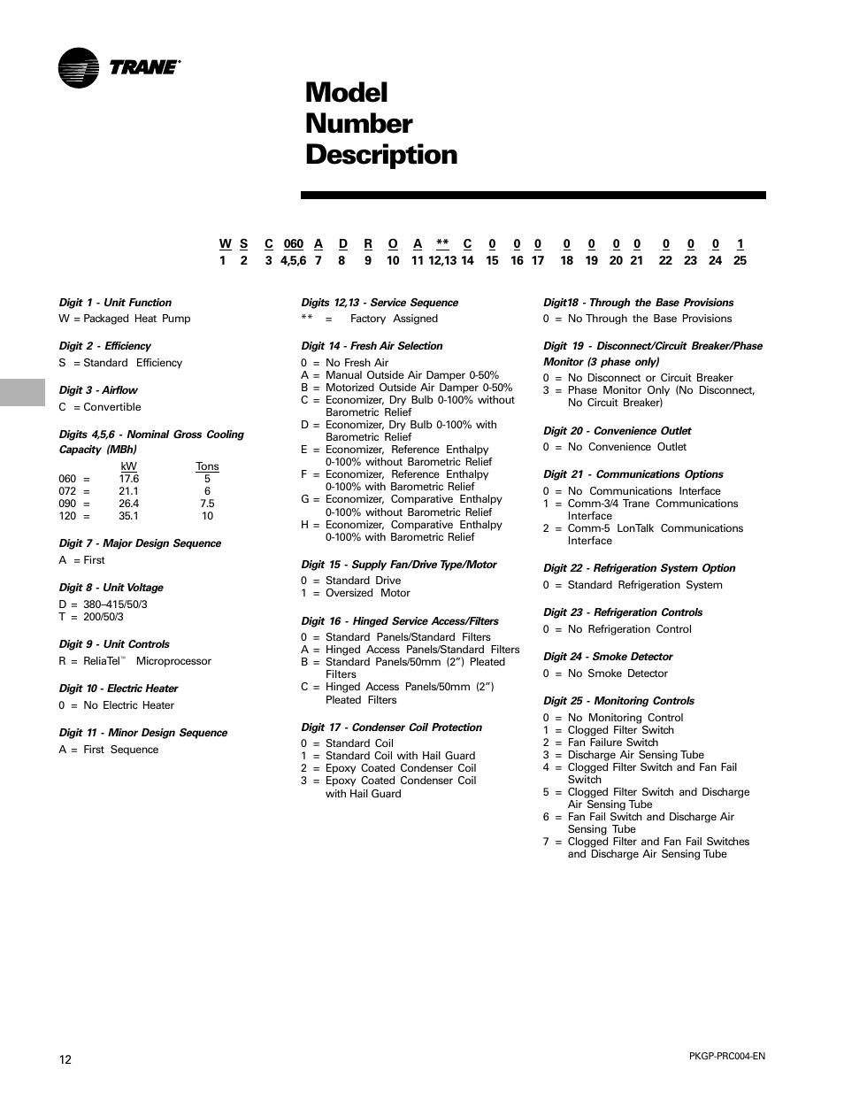 Model number description | Trane WSC060-120 User Manual | Page 12 / 52