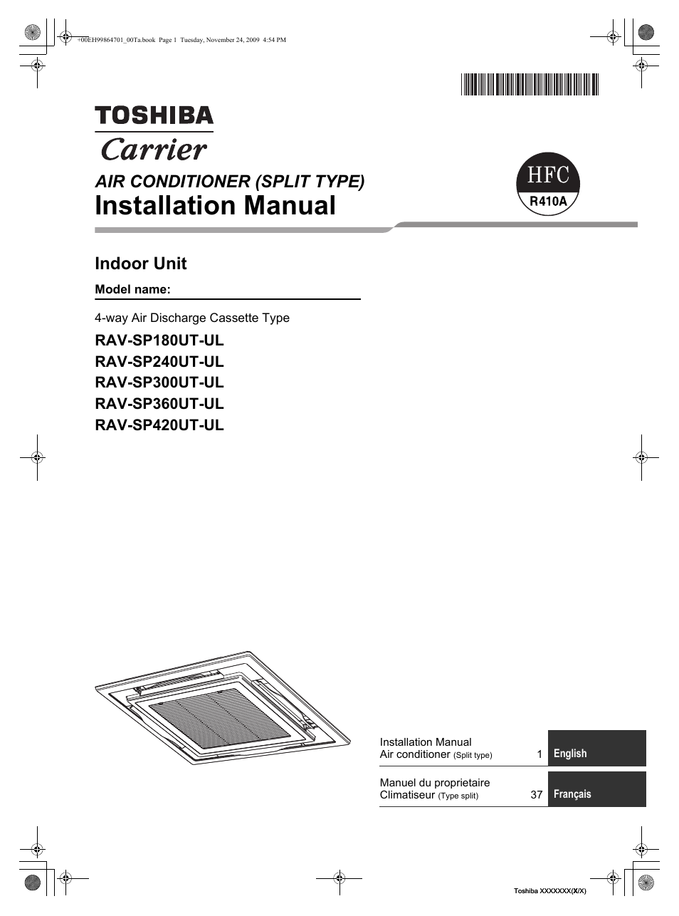 Toshiba Carrier Rav Sp180ut Ul En User Manual 38 Pages