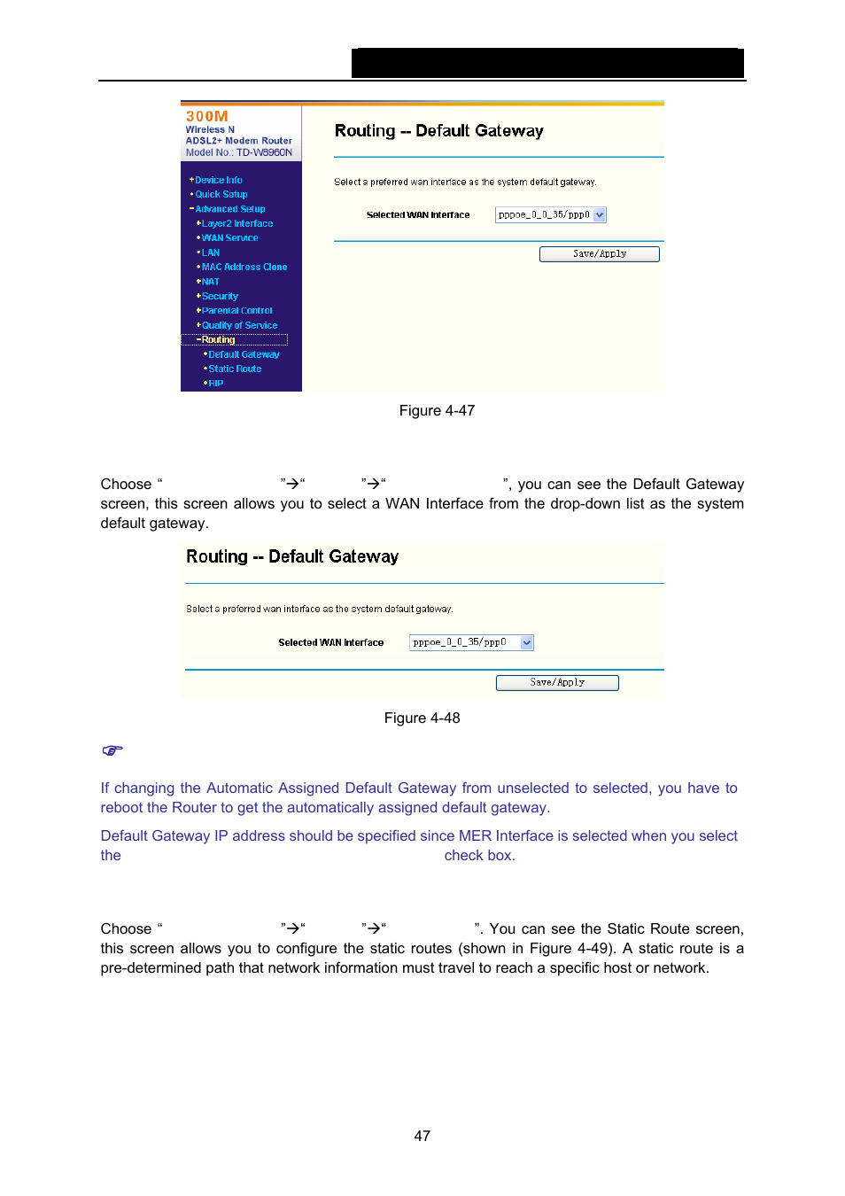 1 default gateway, 2 static route | TP-Link TD-W8960N User Manual