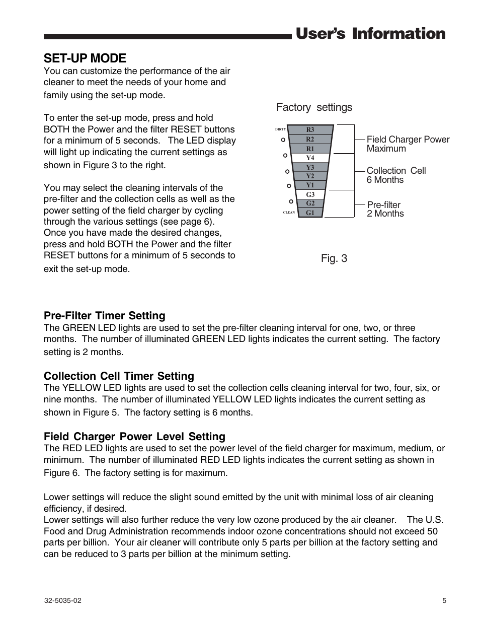 User's information, Set-up mode, Factory settings | Trane CleanEffects Air  Filtration System User Manual | Page 5 / 8