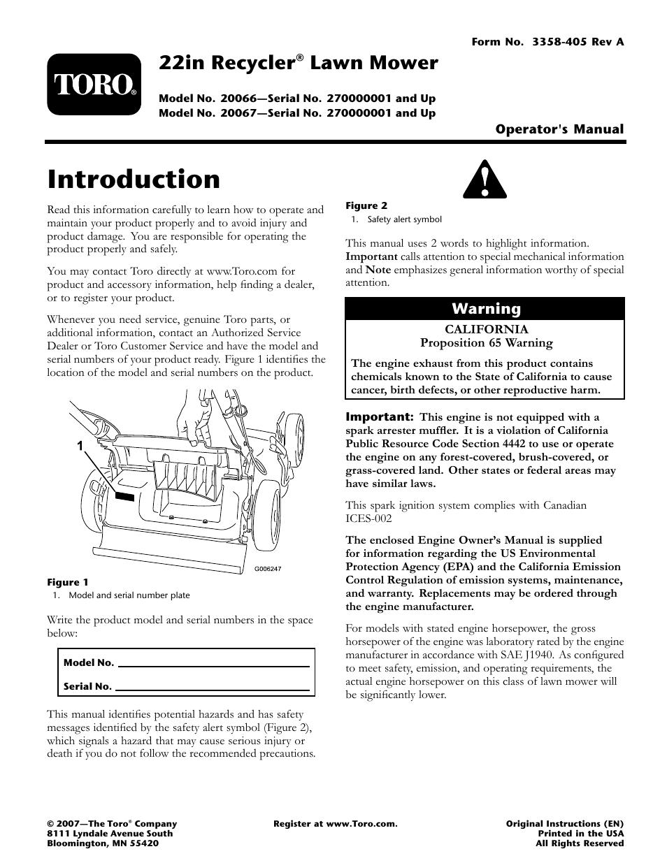 toro 20067 user manual 20 pages also for 20066 rh manualsdir com toro model 20067 service manual toro 20067 repair manual