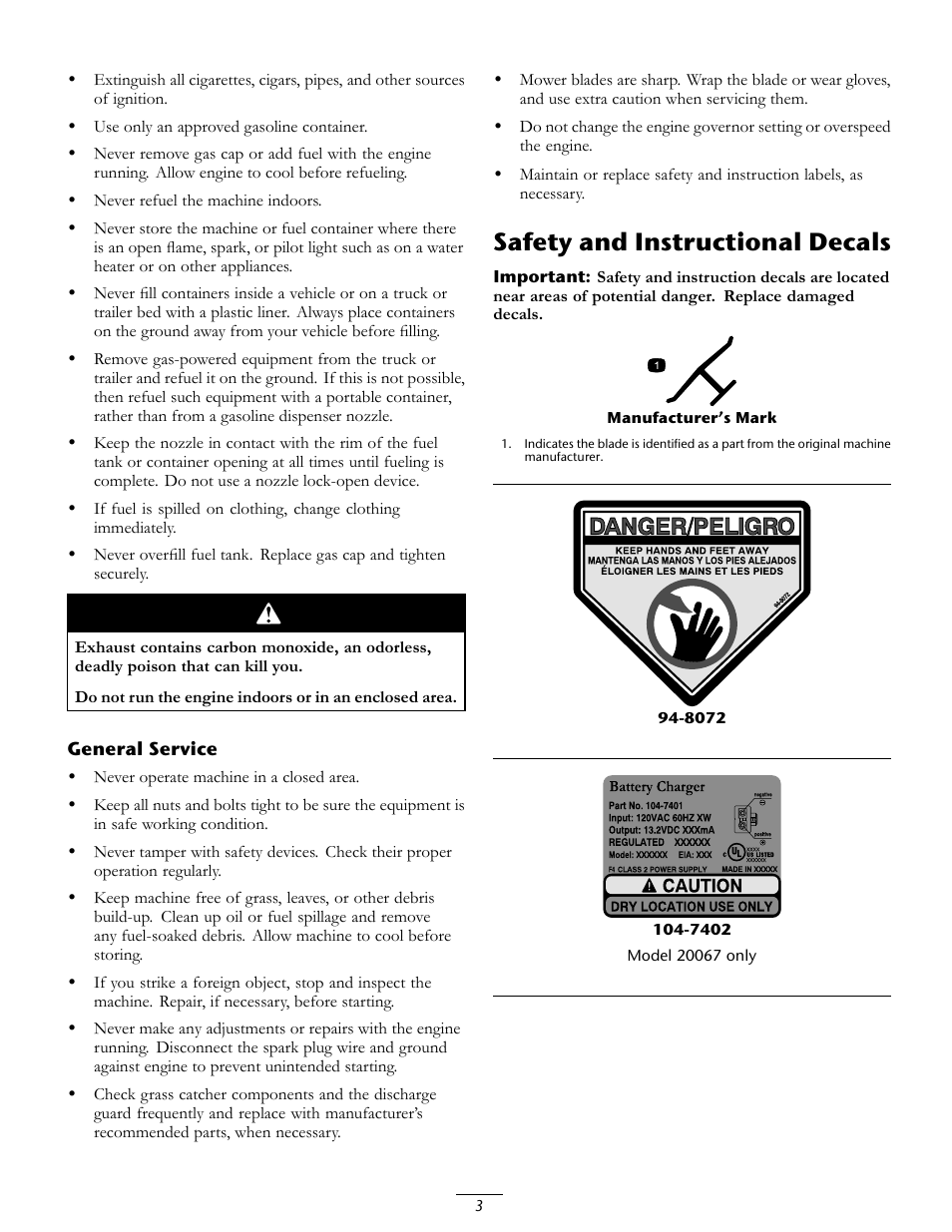 safety and instructional decals toro 20067 user manual page 3 20 rh manualsdir com toro 20068 manual Mis 20067 4 001