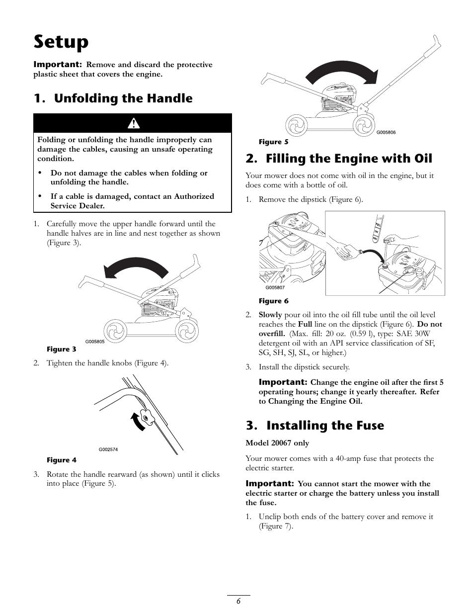 setup unfolding the handle filling the engine with oil toro rh manualsdir com Mis 20067 4 001 Chippewa 20067