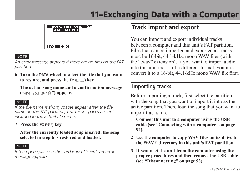 Track import and export, Importing tracks, 11–exchanging