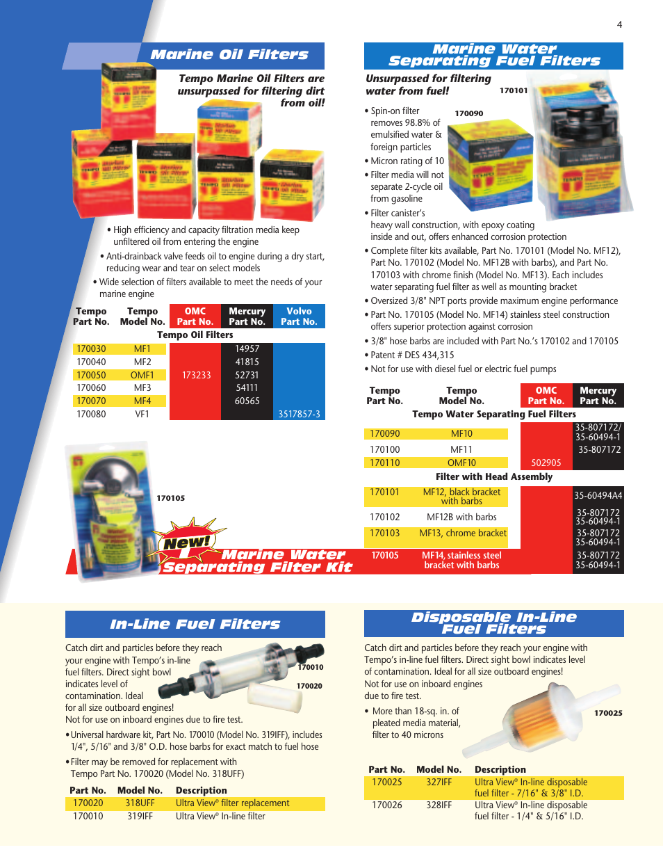 Marine Water Separating Filter Kit Fuel In Line Filters Tempo Vehicle User Manual Page 5 28