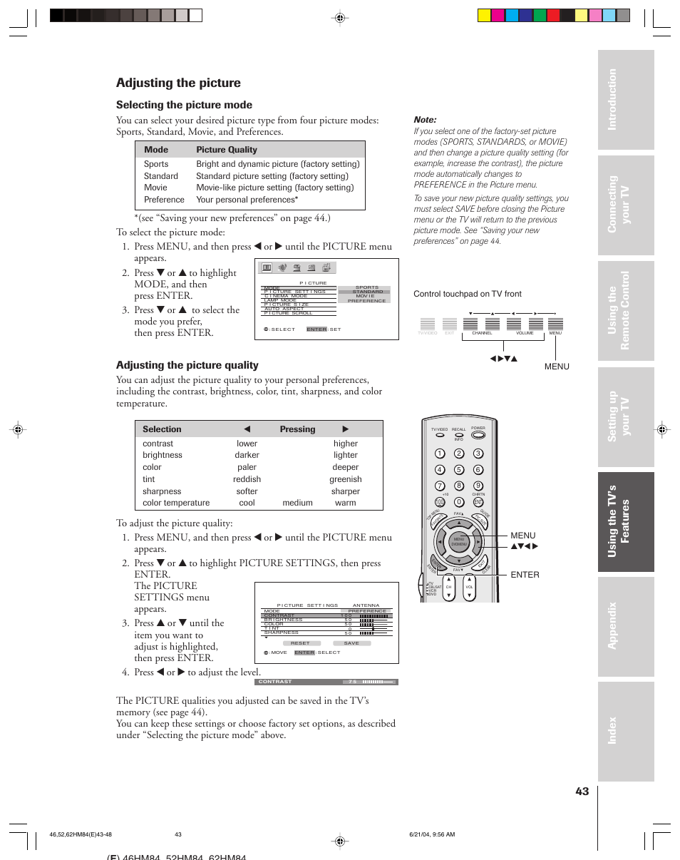 Adjusting the picture, Selecting the picture mode, Adjusting the picture  quality | Toshiba CT-90159 User Manual | Page 43 / 68