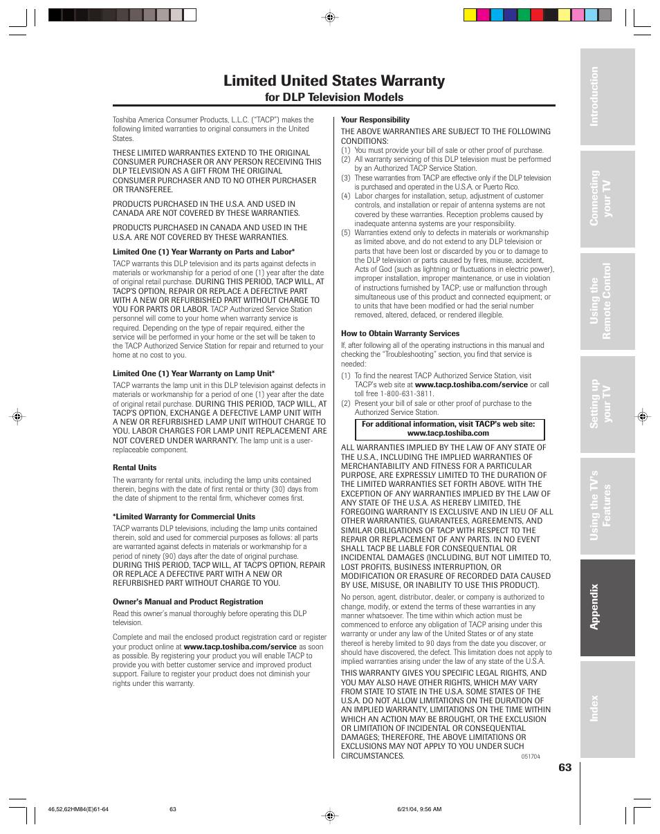 limited united states warranty for dlp television models toshiba rh manualsdir com Toshiba Laptop User Manual toshiba 62hm84 service manual