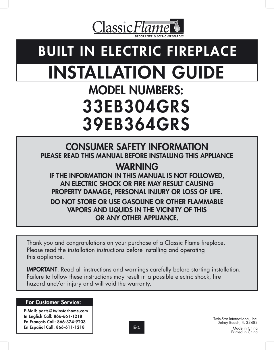 Twin Star International 33eb304grs User Manual 14 Pages Also