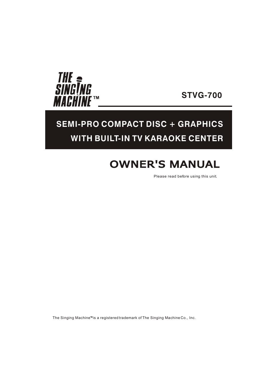 the singing machine stvg 700 user manual 20 pages American Idol Karaoke Machine Memorex Karaoke Machine