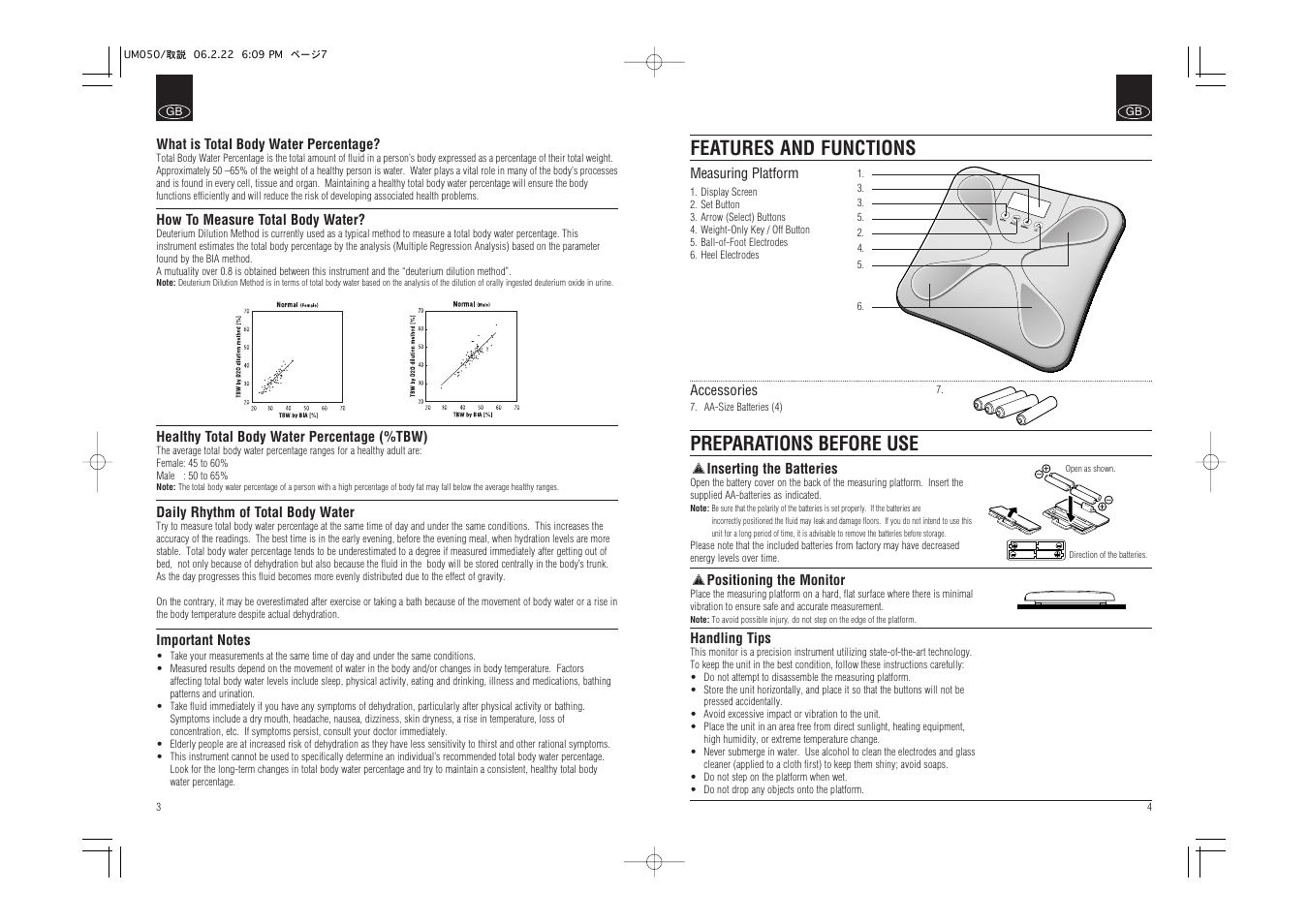 Features And Functions Preparations Before Use Tanita Um 050 User Battery Using Body Fluids Manual Page 4 26