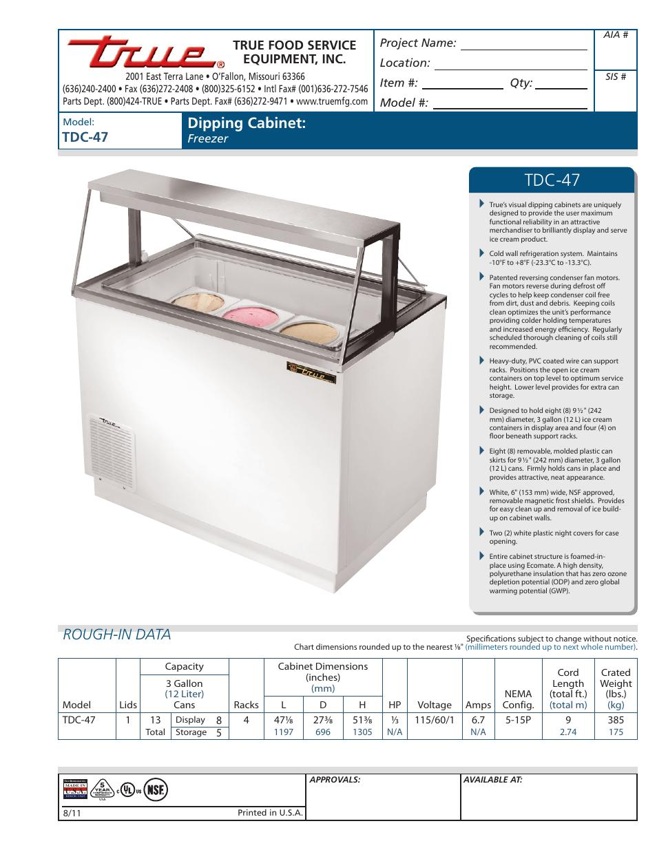 true manufacturing company dipping cabinet freezer tdc 47 user rh manualsdir com