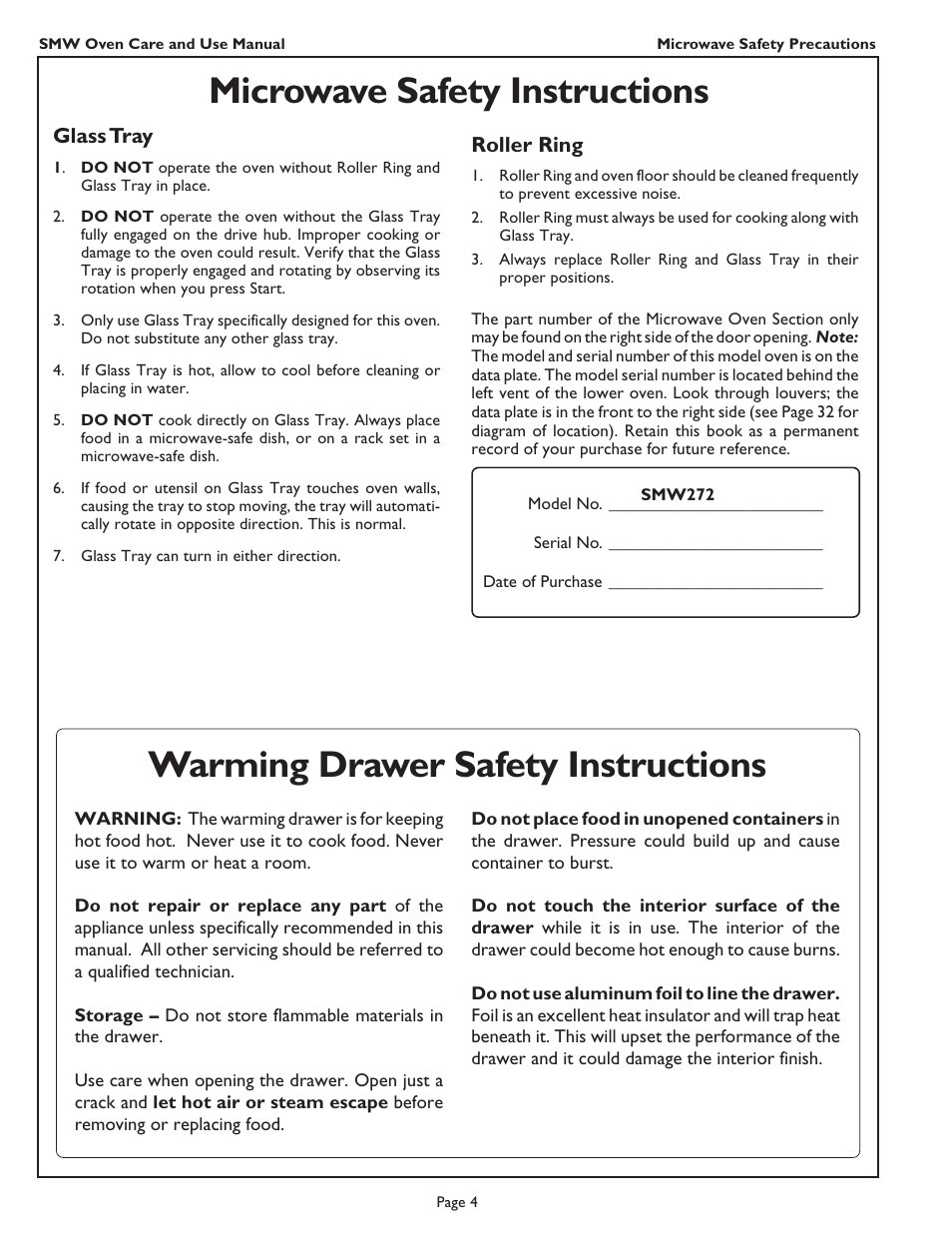 Microwave Safety Instructions Warming Drawer Safety Instructions