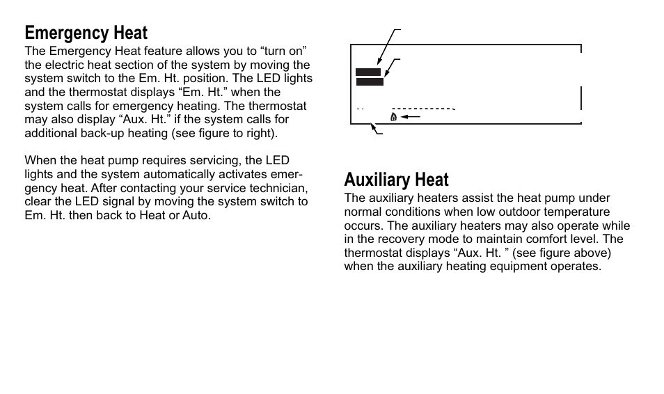 What Is Auxiliary Heat >> Emergency Heat Auxiliary Heat Trane Xt500c User Manual Page 9 68