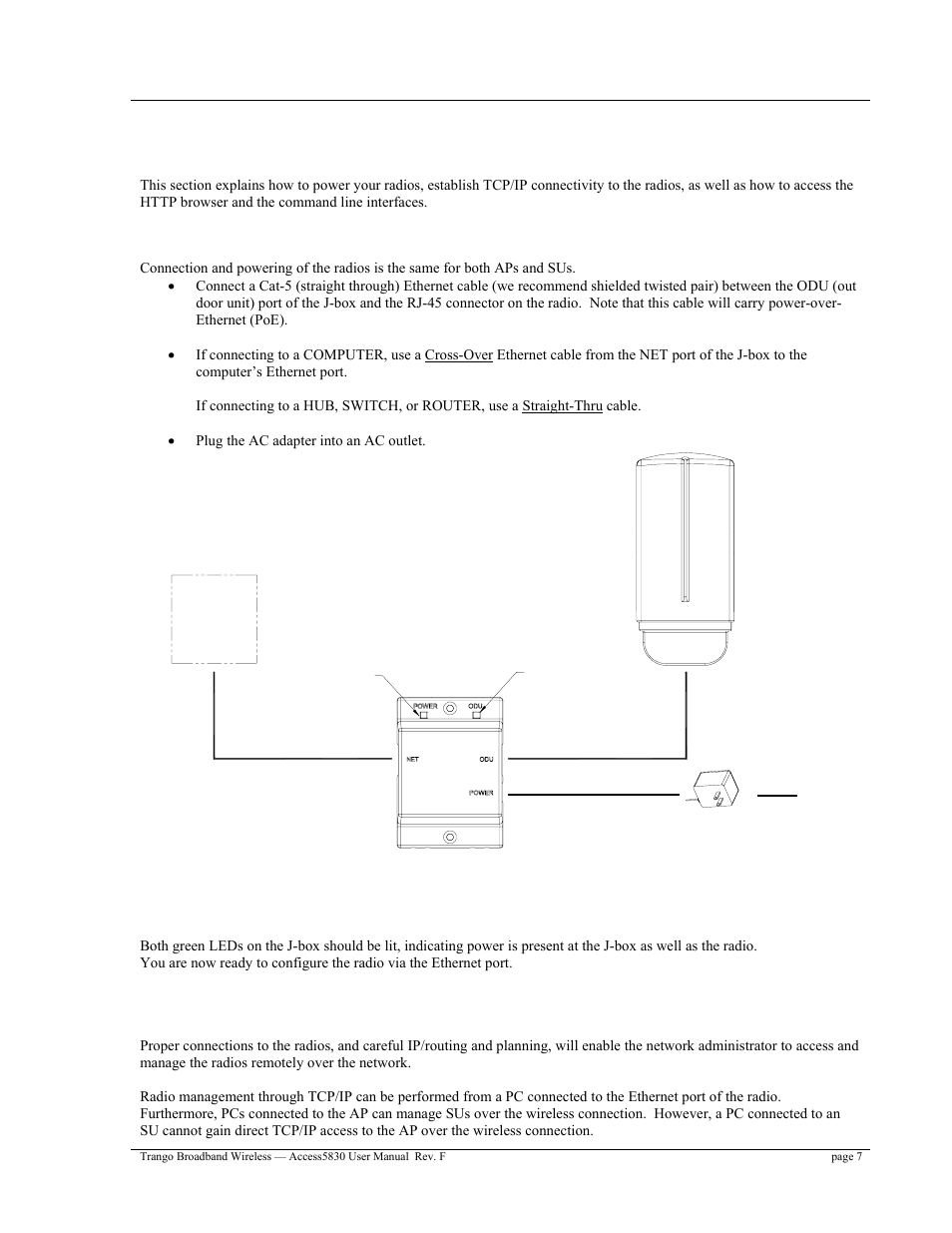 Connections And Power Opmode Radio Management Concepts Trango Cable For Connecting Computer To A Hub Or Switch Straight Through Broadband Access5830 User Manual Page 11 76