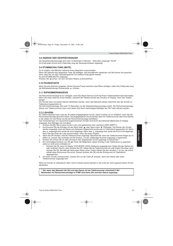 topcom butler 3500 user manual page 65 96 original mode rh manualsdir com topcom user manual topcom twintalker 1300 user manual