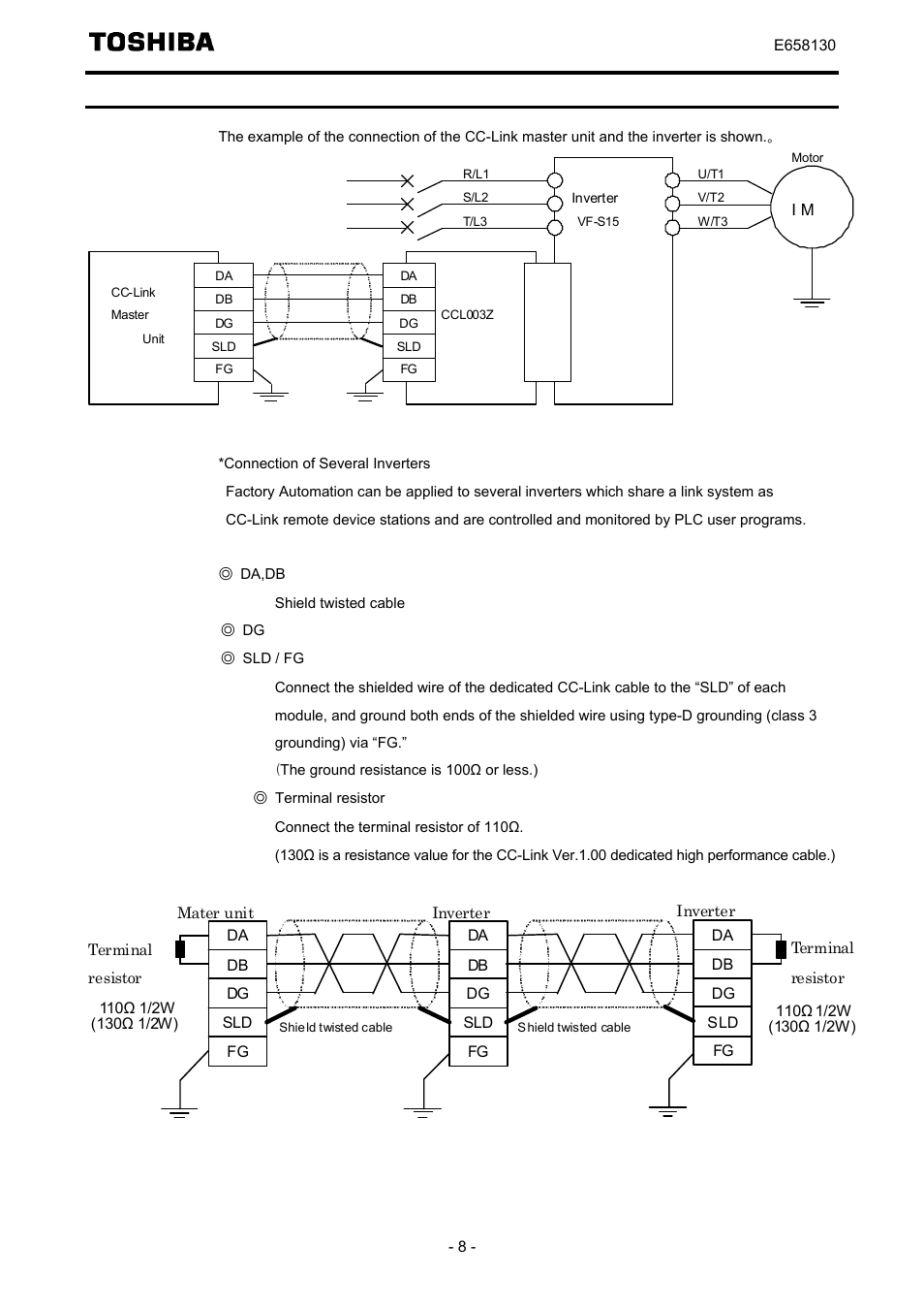 connection of cc link master unit and inverter toshiba tosvert vf K1500 Wiring Diagram connection of cc link master unit and inverter toshiba tosvert vf s15 series option unit function e6581830 user manual page 9 51