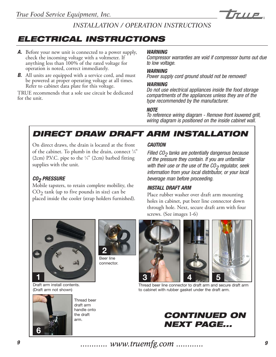 Electrical instructions | True Manufacturing Company TD-50-18-S-LT ...
