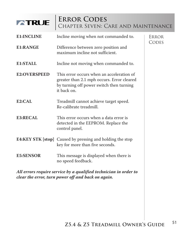 error codes chapter seven care and maintenance true rh manualsdir com
