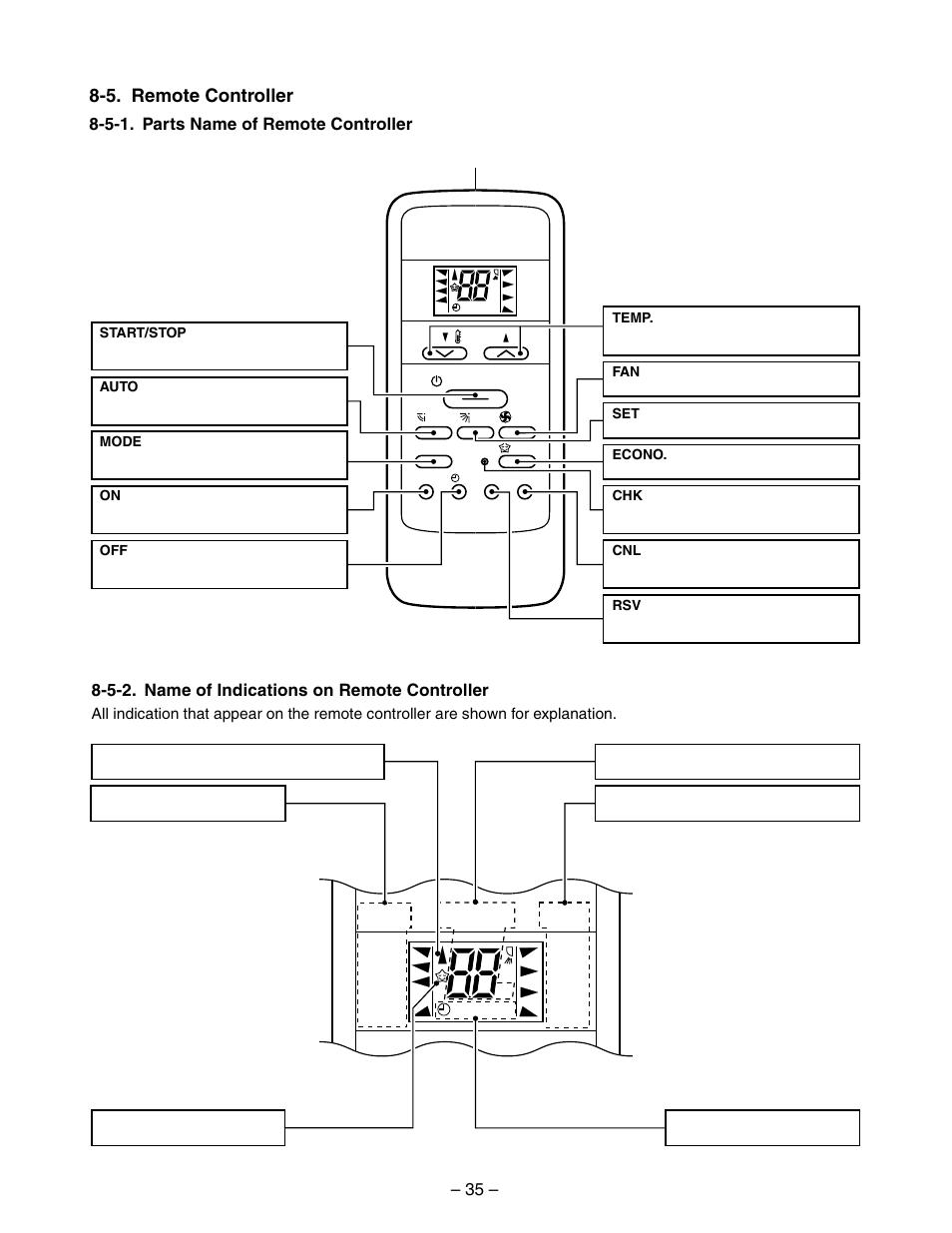 Mode fan, Temp, 5  remote controller | Toshiba RAS-10YKV-E
